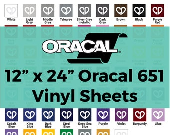 Oracal 651 Vinyl Sheets - 12x24 Sheet, Oracal 651 Sheets, Vinyl Sheets 651, Adhesive Vinyl Sheets, Cricut Vinyl Sheets, Permanent Vinyl