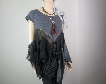 Lagenlook Boho Tunic Striped Black Gypsy Junk Knit with Layers and Lace Mori Girl Shabby Chic Size S - M