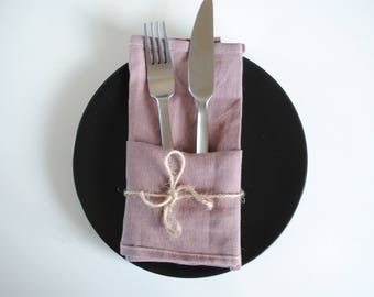 Table Napkins Set of 2, 100% Linen, Dark Pink