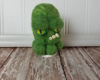 Adorable Needle Felted Wool Toothy Monster- Cranky Green
