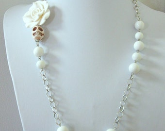 Day Of The Dead Necklace Sugar Skull Wedding Jewelry White Rose