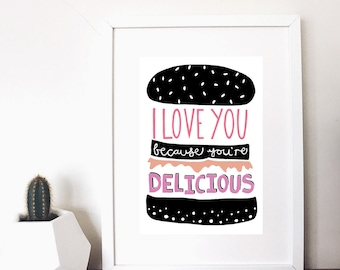love burgers print