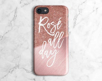 Rose Gold Texture Blocks Rose All Day Phone Case for iPhone 6 / 6S / 6 Plus,  iPhone 7, iPhone 7 Plus, Samsung Galaxy S8 | DLC91