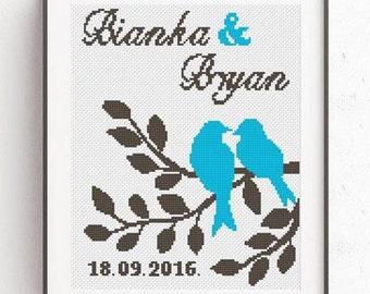 Wedding Cross Stitch Pattern Love Birds cross stitch Alphabet for personalizing Wedding Gift Counted modern Embroidery Easy cross stitch PDF