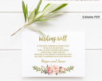 Wedding Wishing Well Card Template, Printable Wishing Well Card, Floral Wishing Well, Boho Chic #A010, Editable PDF-you personalize at home.