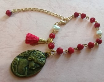 Red Coral bracelet with cameo