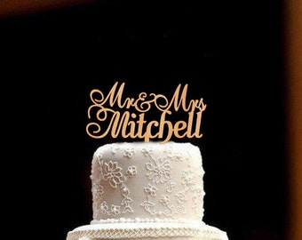 Wedding Cake Topper Mr and Mrs Cake Topper Personalized Custom Wedding Cake Topper Rustic Wedding Topper Wood Wedding Cake Topper
