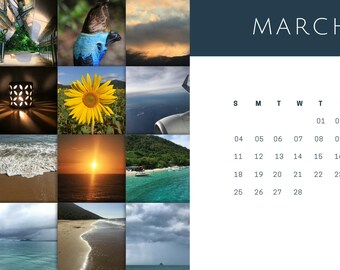 Computer desktop photography calendar - March 2018, photo, nature, wallpaper calendar, sunflower, ocean, plane