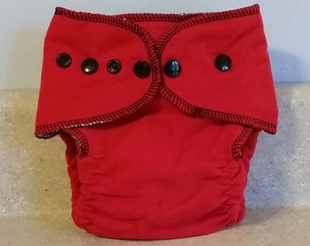 Fitted Small Cloth Diaper- 6 to 12 pounds- Red and Black- 17003