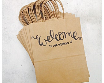 Welcome To Our Wedding Rustic Wedding Guest Hotel Favor Kraft Paper Bag With Handle and Welcome Handwritten Calligraphy Design Set of 25 Bag