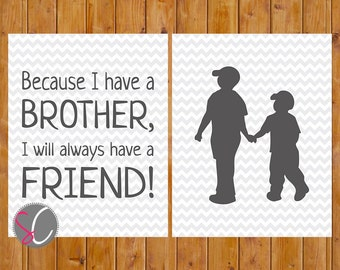 Because I have a Brother Nursery Toddler Room Grey Chevron Brothers Wall Art 11x14 Digital JPG Files Instant Download (96)