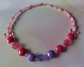 Elastic necklace girl pink and purple flowers