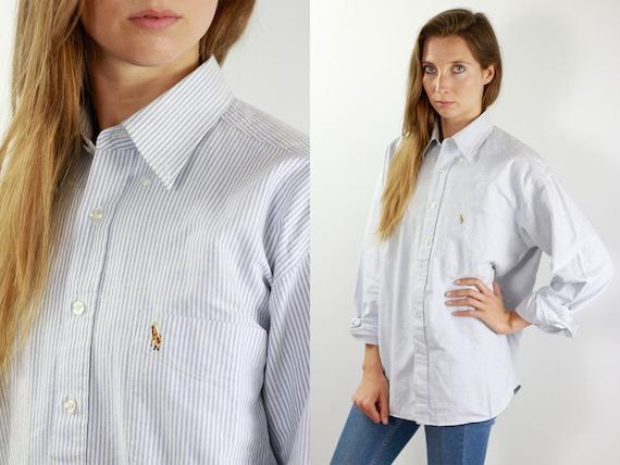 RALPH LAUREN Shirt Striped Shirt Ralph Lauren Button Up Polo Shirt Women Shirt Vintage Ralph Lauren Vintage Shirt Oxford Shirt Blue 90s Top