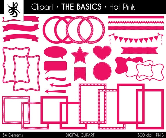 Digital Clipart-The Basics-Hot Pink-Hot Pink Digital Elements-Frames ...