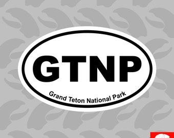 Grand Teton National Park Oval Sticker Self Adhesive Vinyl Euro GTNP - C4313