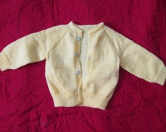 New Pastel Yellow New Born Baby Infant Sweater Cardigan Handmade Handknit