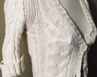 Women's xs white Knitted Cardigan cropped sleeves button up