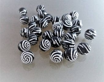 Set of 30 black 10 mm pearls with rhinestones