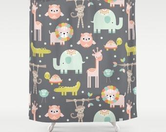 Safari Animals Shower Curtain, Jungle Shower, Kids Shower Curtain, Childrens Shower Curtain, Kids Bathroom, Childs Bathroom, Tub Liner, art