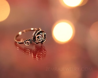 Copper Jewelry Clear Copper Czech Glass Faceted Bead Ring Size 8 Copper Wire Wrap Ring Looping Wire Fun Freeform Solitaire Boho Ring