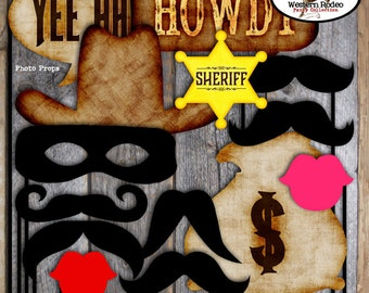 Cowboy Photo Booth Props | Western Rodeo Photo Props | Wild West Sheriff Bandit Mask Mustache Moustache Loot Bag | Printable Photo Props