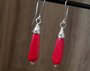 Silver Plated, Red Wrapped Teardrop Earrings