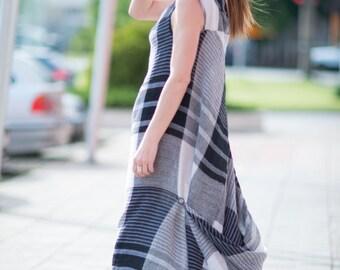 Plaid Linen Kaftan, One Shoulder Dress, White Plaid Linen Dress, Linen Dress, One Shoulder  By Eugfashion - DR0249LE