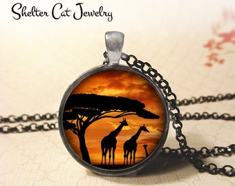 "Giraffes Under a Tree at Sunset - 1-1/4"" Circle Pendant or Key Ring - Handmade Wearable Photo Art Jewelry - Nature Art, Wildlife Africa Gift"