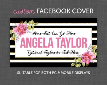 Facebook Cover, Facebook Floral - Facebook, Timeline Cover - Black White Striped with Flowers