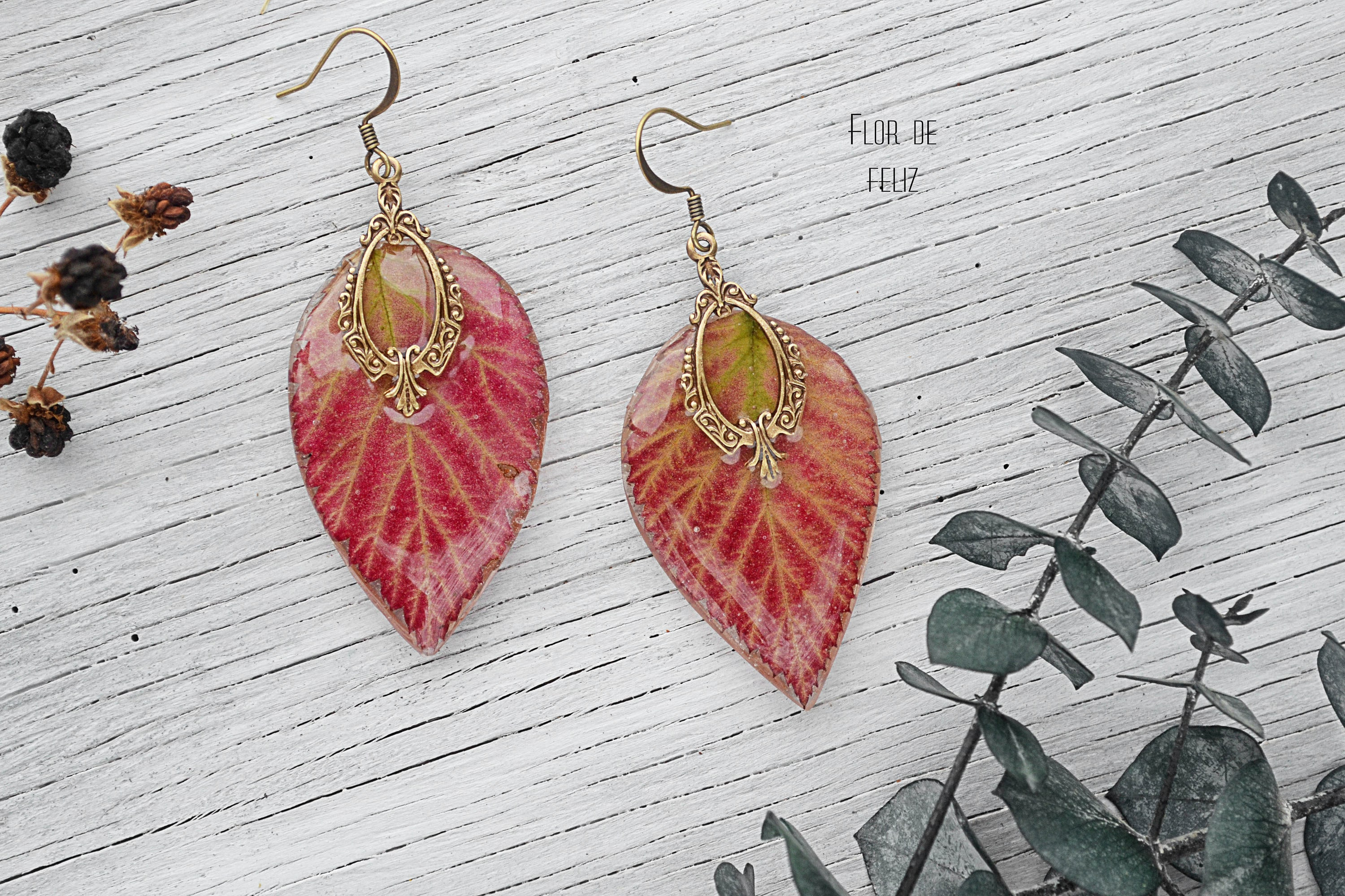 Autumn Jewelry Dangle Orange Earrings Rose Earrings Terrarium # Terrarium Dangle