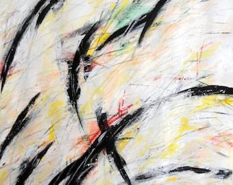 3-11-12 (abstract painting, black., white, yellow, orange, green)