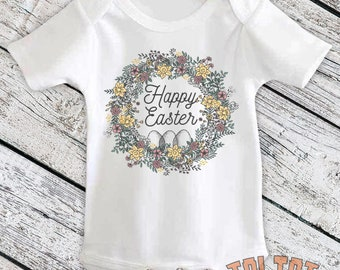 Happy Easter Bodysuit, Easter Wreath, Flourish Easter Egg Outfit, Easter Bunny for Babies, Toddlers, One Piece