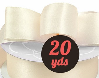 "Satin Cream White Ribbon - 7/8"" wide at 20 yards"
