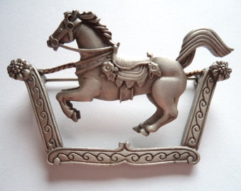 Vintage Signed JJ Silver pewter Merry Go round Horse Brooch/Pin