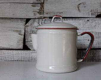 Enamel Coffee Pot, Large White Enamelware Teapot, Antique Enamel Kettle, Vintage Teapot, Farmhouse Kitchen Decor, Antique Home Decor, Teapot