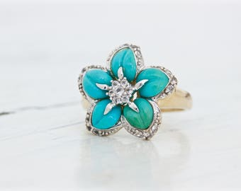 Unique Turquoise Ring | Flower Ring | Boho Gemstone Ring | Carved Turquoise Jewelry | 10k Yellow Gold Ring | Floral Jewelry | Size 6 Sizable