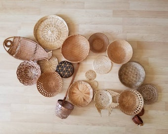 Vintage Wall Fish Basket Collection Set of 19 Woven Wall Baskets Trivets and a Scoop Nautical Boho Basket Wall Fisherman