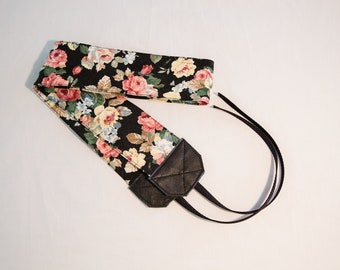 Vintage Faded Black Floral Camera Strap, Genuine Leather, Heavy Duty Photography Strap