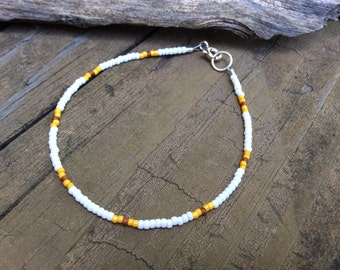 Friendship Bracelet, Boho Seed Bead Bracelet, Miyuki Seed Beads, White Minimal Bracelet, Hippie Jewelry