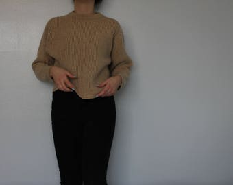 Vintage lambswool knit crew neck / hand frame knit