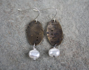 Recycled Bronze Mini Oval with Pearl Earring