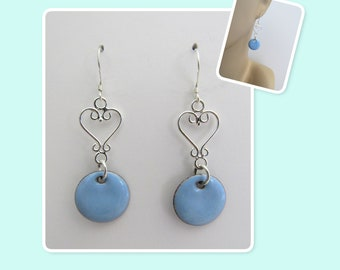 Sky Blue Circle Enamel Sterling Silver Heart Earrings