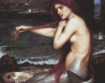 A Mermaid 1900 By John William Waterhouse - Counted Cross Stitch Kit - DMC materials