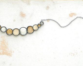 Sandstorm Bubble Circle Necklace Sterling Silver Unique 1st Anniversary Gift Paper Jewelry Zen Minimalist Modern Beach Wedding Bridesmaid