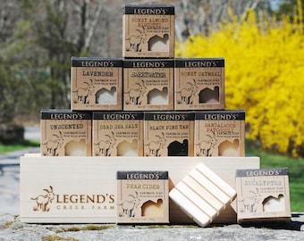 Goat Milk Soap Gift Box Set - 10 Bars & Soap Holder