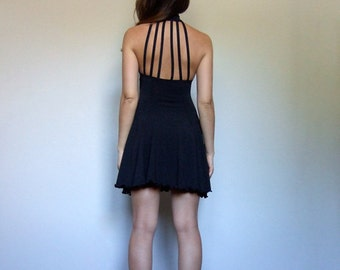 Black Mini Dress 90s Vintage Sheer Strappy Back Skater Dress Black Party Dress Halter Dress Stretchy - Extra Small XS