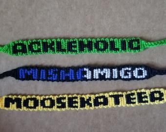 """Jared Padalecki """"Moosekateer"""" Bracelet   Jensen Ackles """"Ackleholic"""" Bracelet   Misha Collins """"Mishamigo"""" Bracelet"""