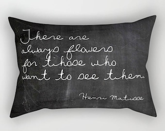Henri Matisse Quote Lumbar Pillow Cover, Inspirational Decor, Velvet Cushion Cover, Shabby Chic Pillows, Boho Chic, Gifts for Her, Spring