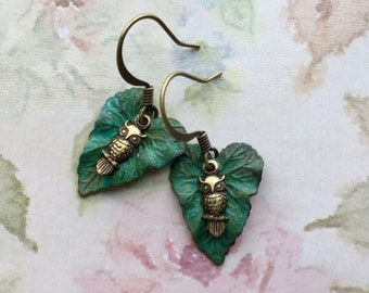 Tiny Owl Earrings - Owl Jewelry - Woodland Earrings - Nature Earrings - Leaf Earrings - Leaf Jewelry - Nature Jewelry - Leafy Green Earrings
