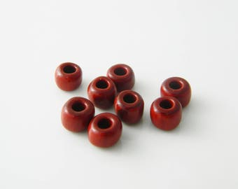 lot x 8 (l359) 7mm red rondelle bead